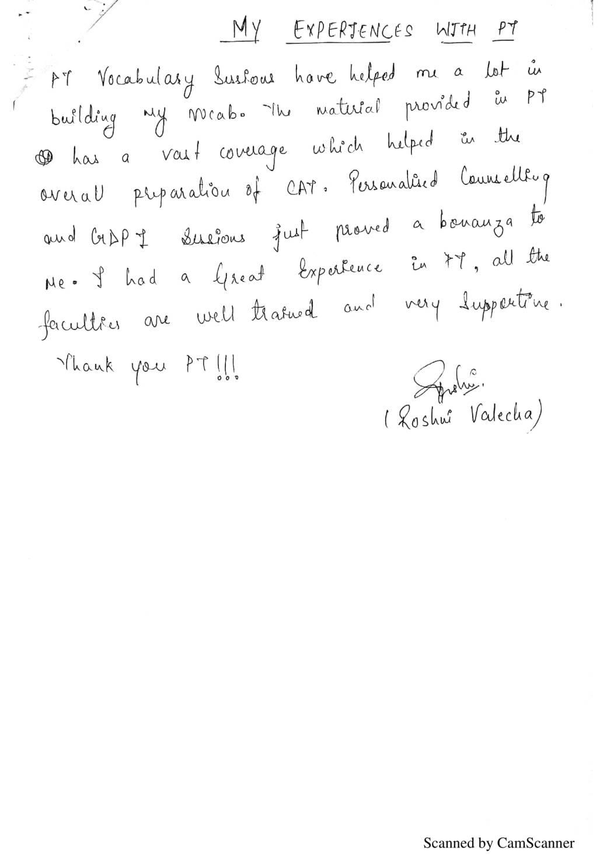 Testimonial of Roshni Valecha